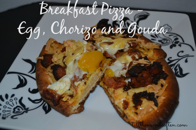 Breakfast Pizza - Egg, Chroiza, and Gouda