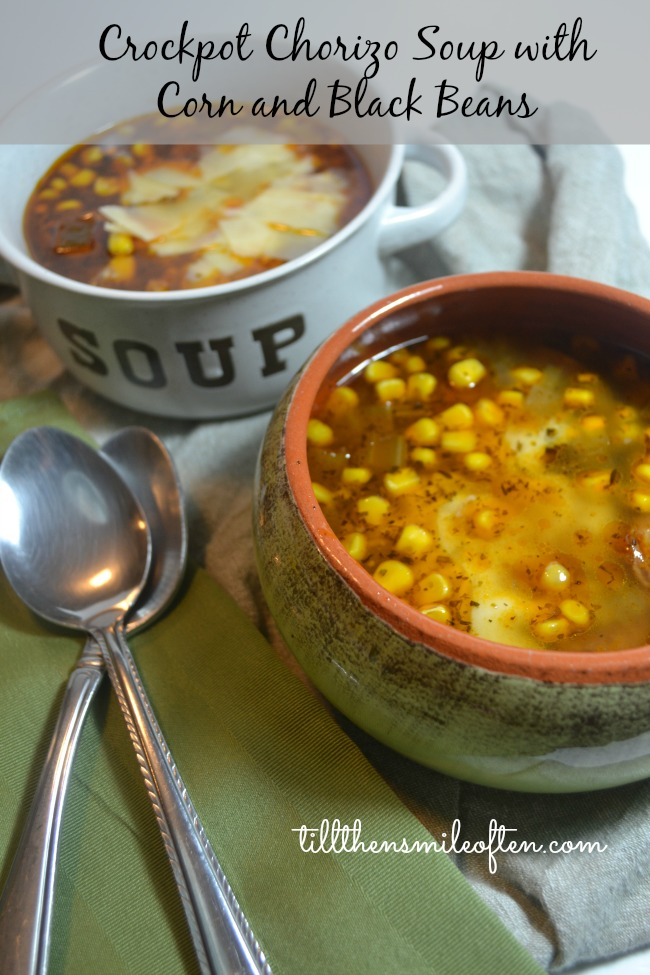 Crockpot Chorizo Soup with Corn and Black Beans