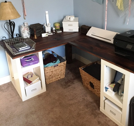 Office Makeover DIY LShaped Desk Till Then Smile Often
